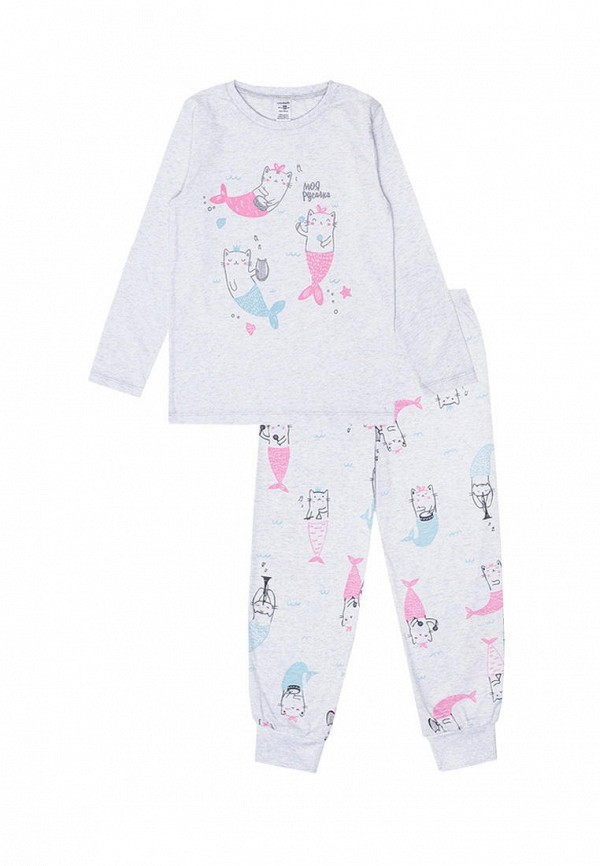 пижама crockid для девочки, серая