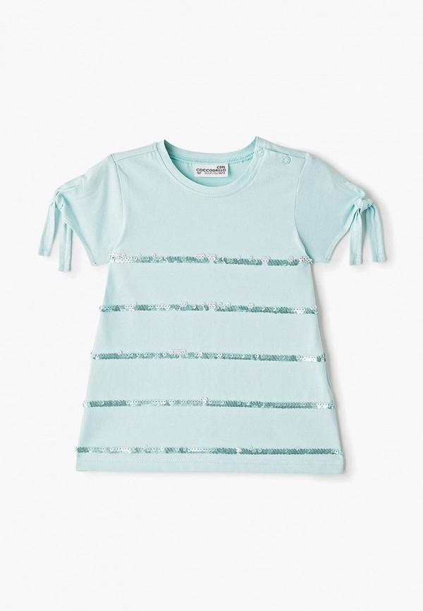 футболка coccodrillo для девочки, бирюзовая
