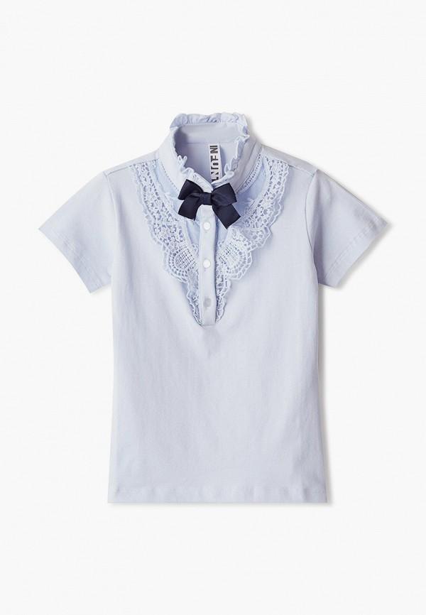футболка infunt для девочки, голубая