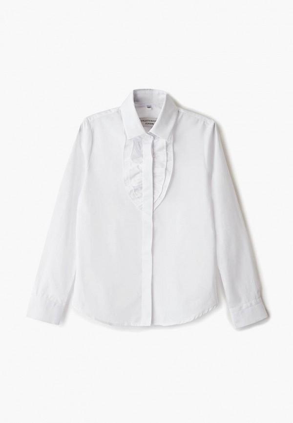 блузка colletto bianco для девочки, белая