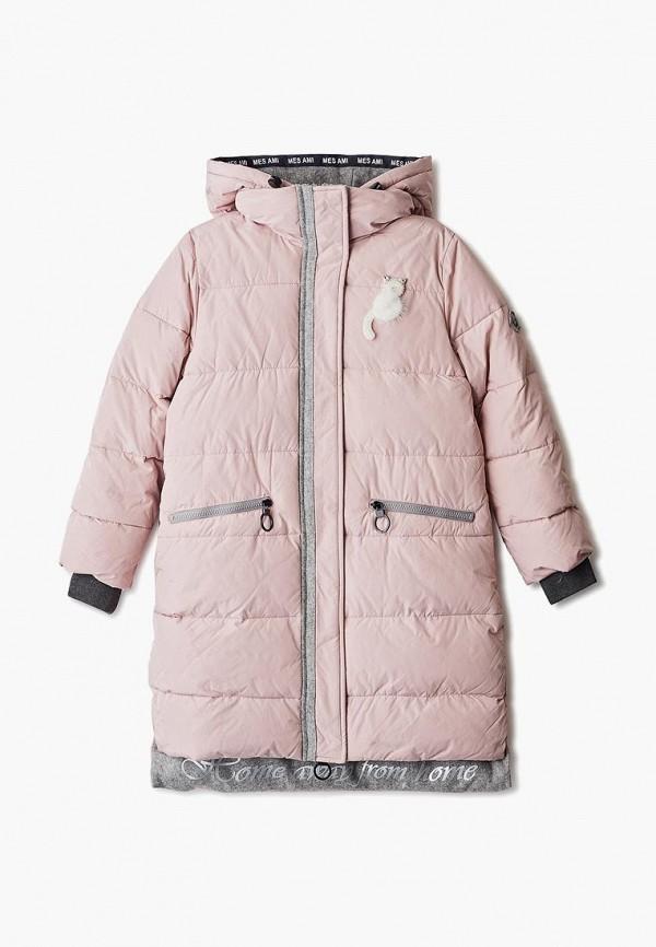 пальто mes ami для девочки, розовое