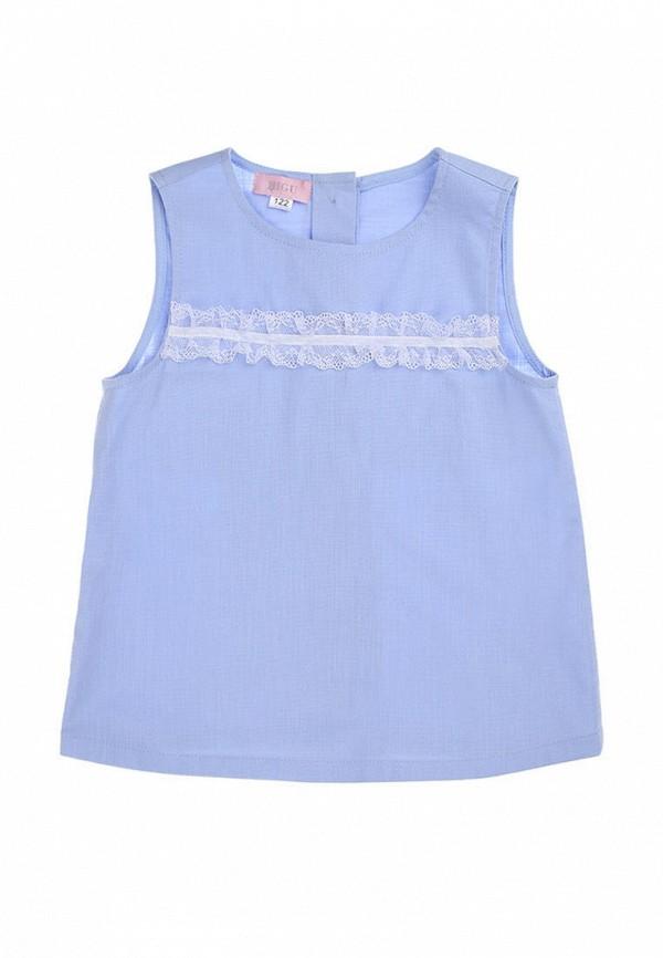 блузка bigu для девочки, голубая