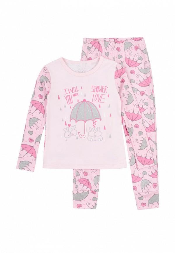 пижама фламинго текстиль для девочки, розовая