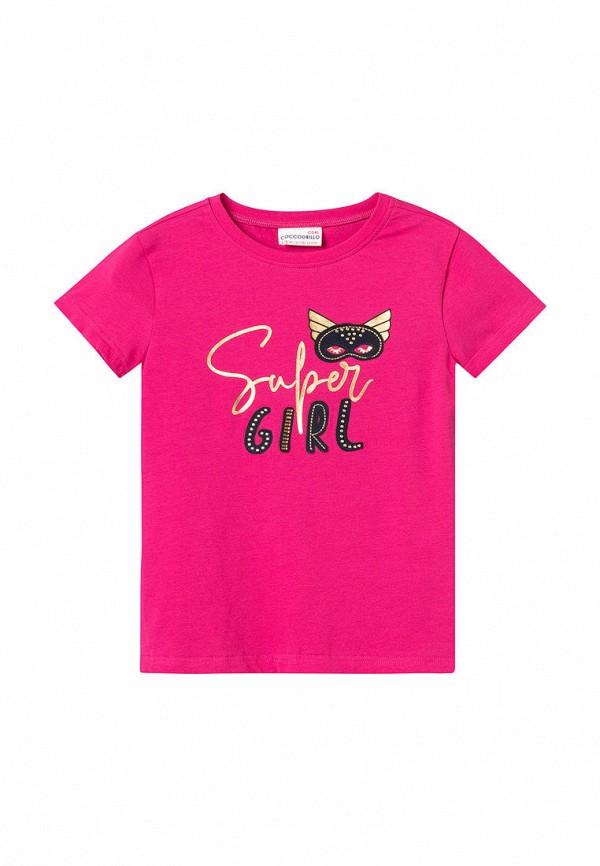 футболка с коротким рукавом coccodrillo для девочки, розовая