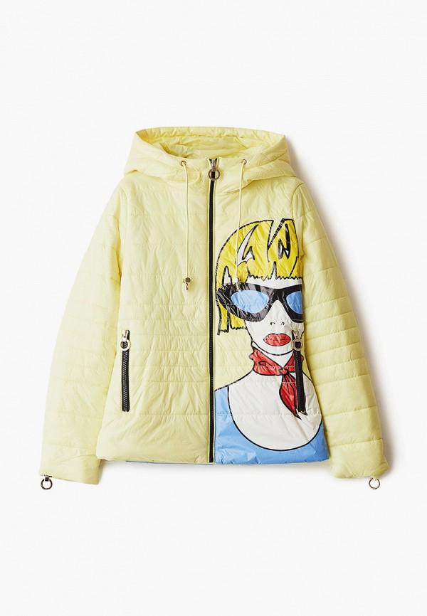 утепленные куртка mes ami для девочки, желтая