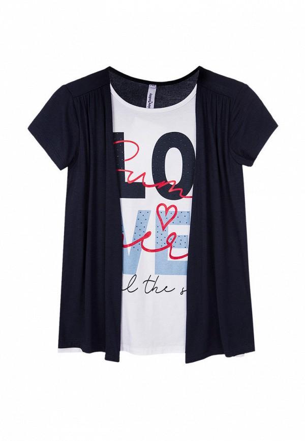 футболка с коротким рукавом playtoday для девочки, синяя