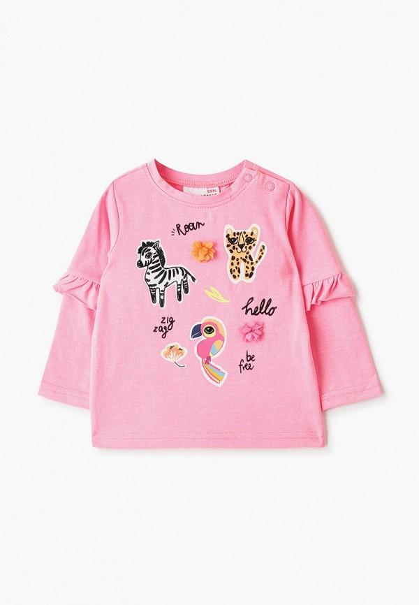 лонгслив coccodrillo для девочки, розовый