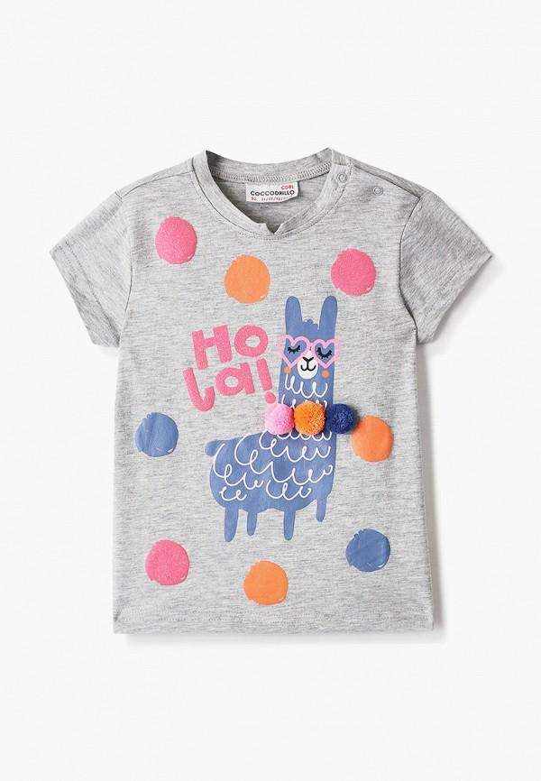 футболка с коротким рукавом coccodrillo для девочки, серая
