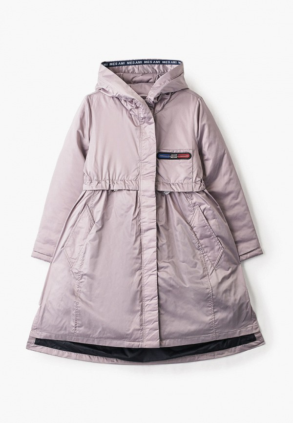 утепленные куртка mes ami для девочки, розовая