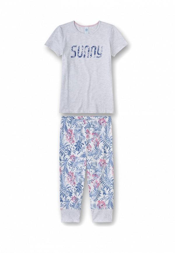 пижама sanetta для девочки, серая