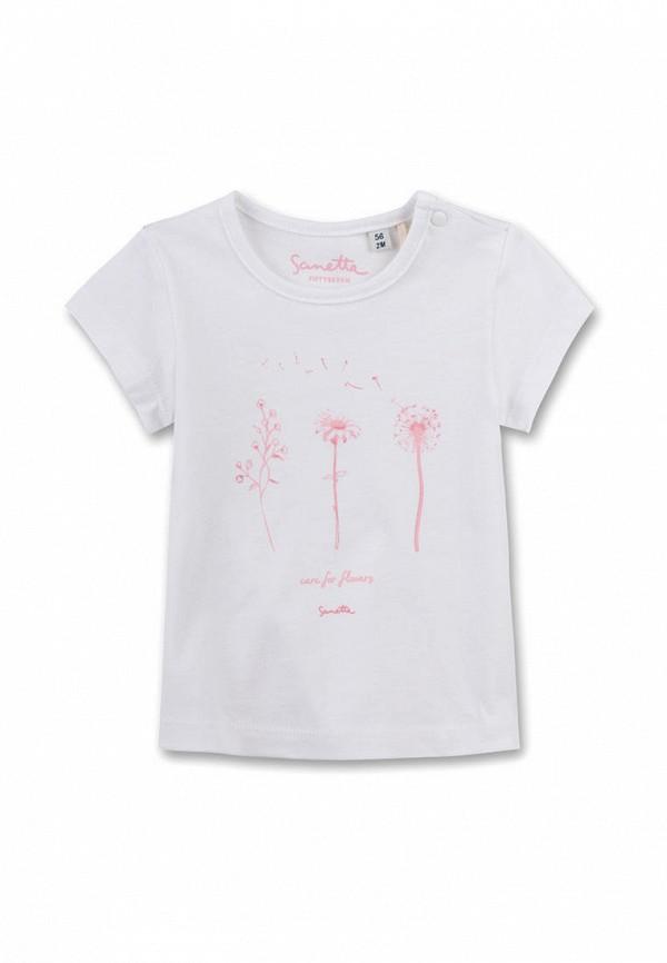 футболка с коротким рукавом sanetta для девочки, белая