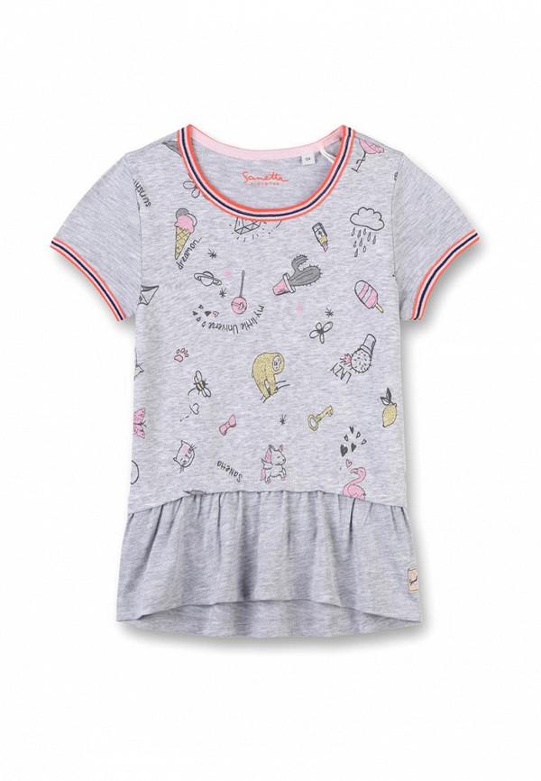 футболка с коротким рукавом sanetta для девочки, серая