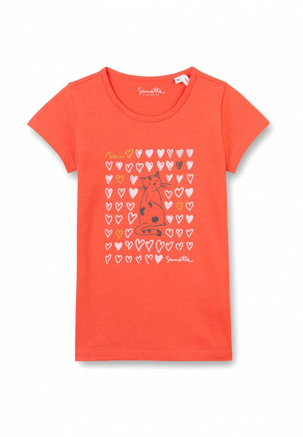 футболка с коротким рукавом sanetta для девочки, оранжевая