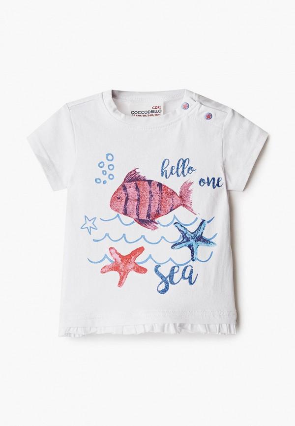 футболка с коротким рукавом coccodrillo для девочки, белая