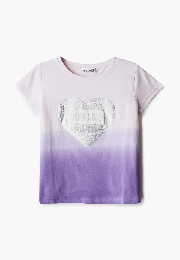 футболка с коротким рукавом coccodrillo для девочки, фиолетовая