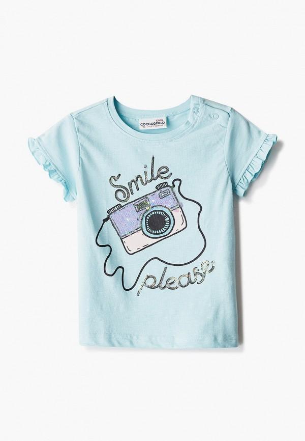 футболка с коротким рукавом coccodrillo для девочки, бирюзовая