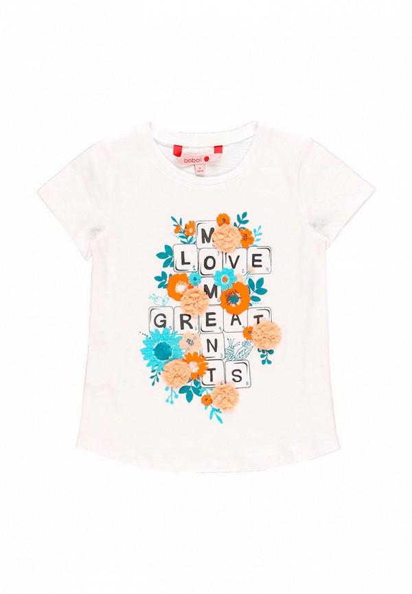 футболка с коротким рукавом boboli для девочки, белая