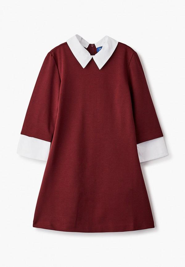 повседневные платье smena для девочки, бордовое
