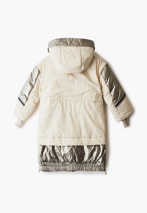 Куртка для девочки утепленная Mes ami цвет бежевый  Фото 2