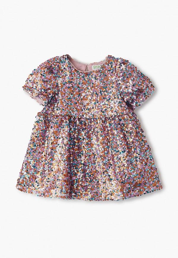 нарядные платье sela для девочки, разноцветное