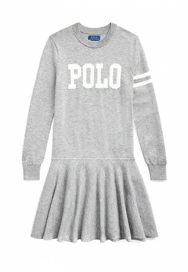 повседневные платье polo ralph lauren для девочки, серое