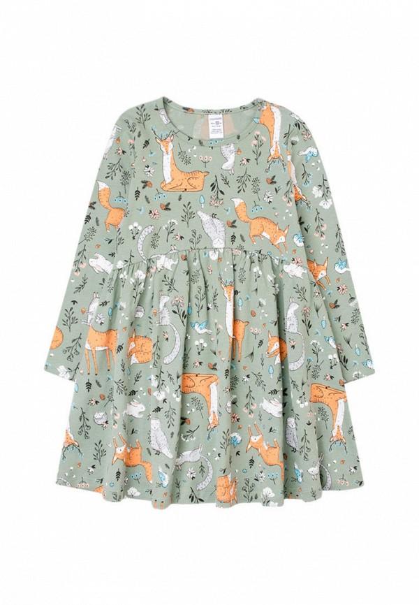 повседневные платье crockid для девочки, зеленое