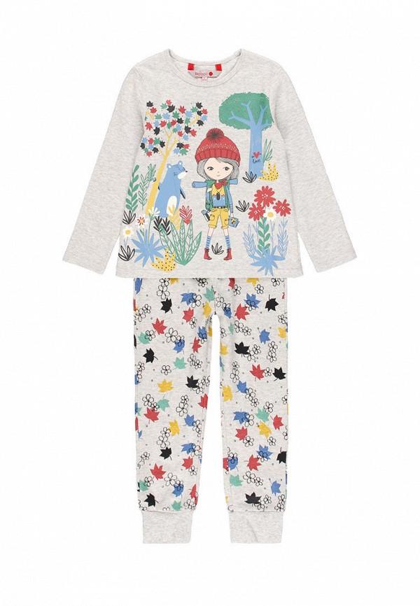 пижама boboli для девочки, серая