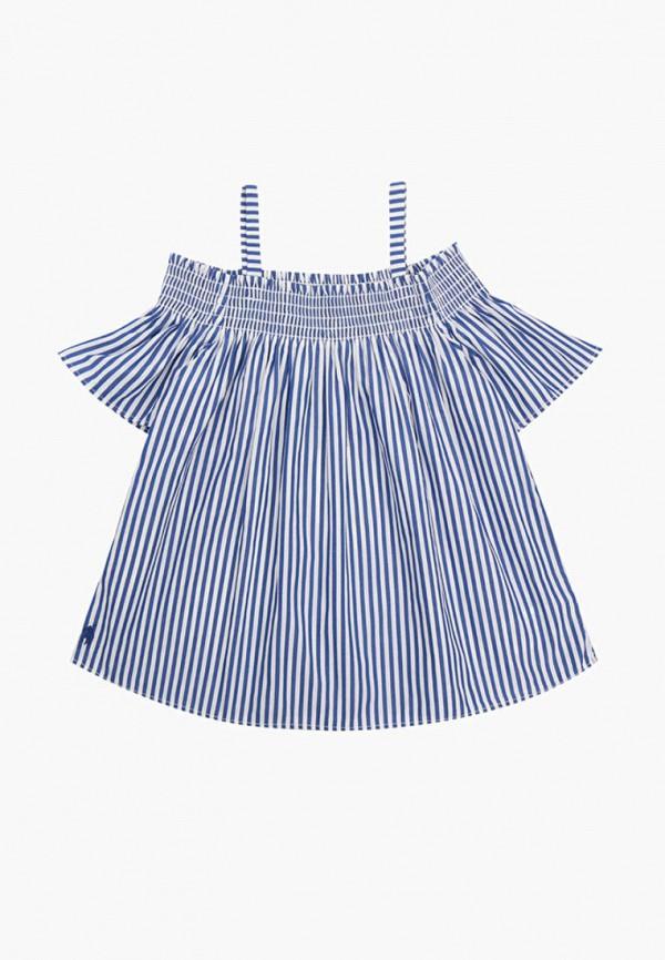 блузка polo ralph lauren для девочки, голубая