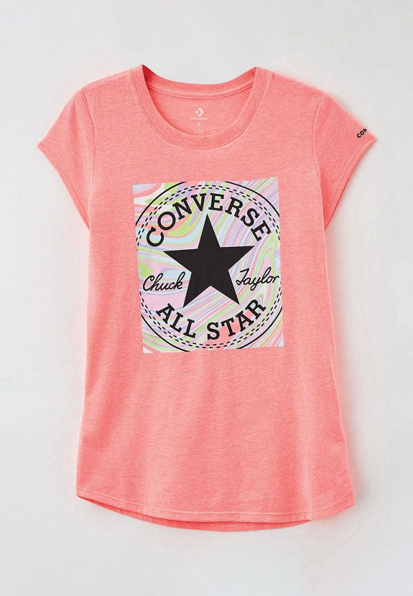 футболка с коротким рукавом converse для девочки, розовая