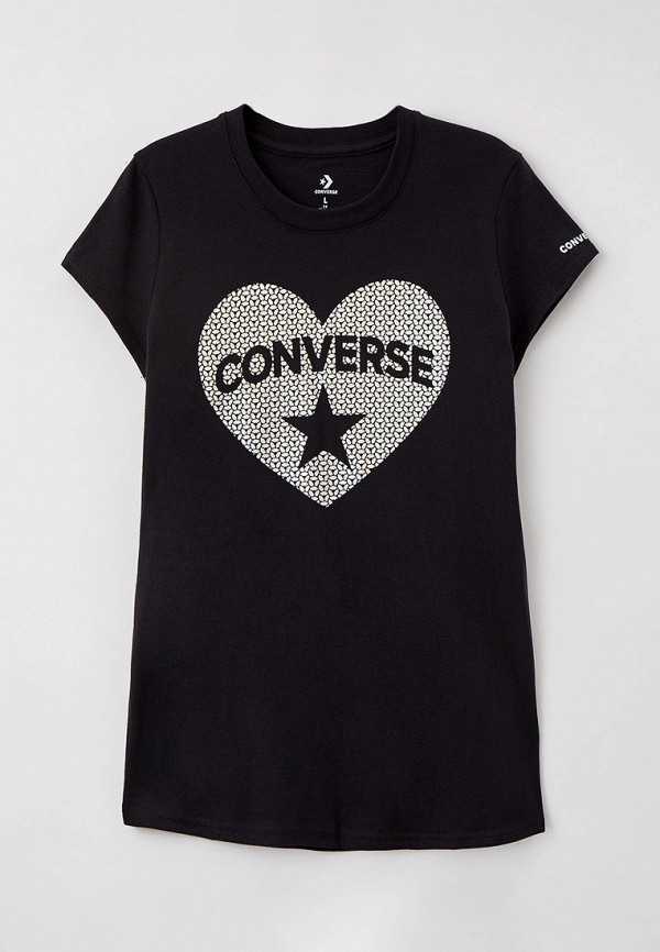 футболка с коротким рукавом converse для девочки, черная