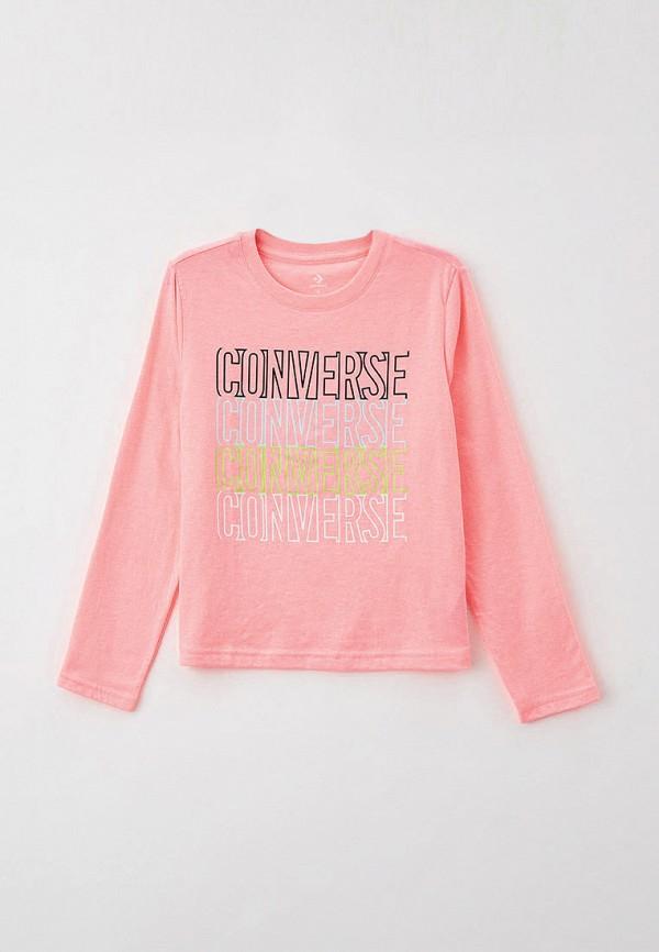 лонгслив converse для девочки, розовый