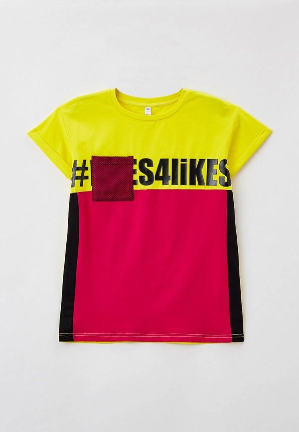 футболка с коротким рукавом playtoday для девочки, желтая