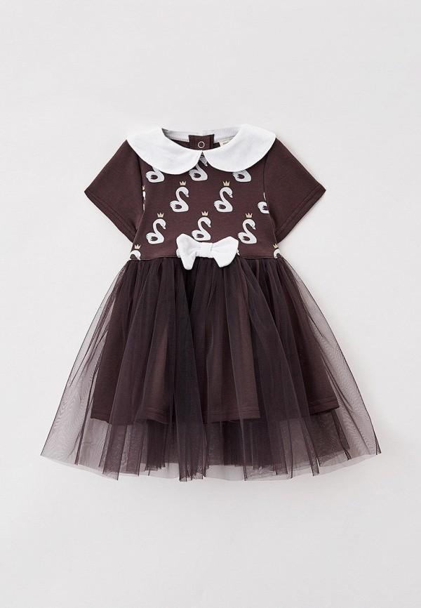 повседневные платье trendyco kids для девочки, коричневое