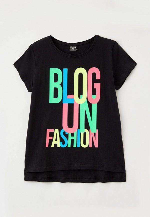 футболка с коротким рукавом o'stin для девочки, черная
