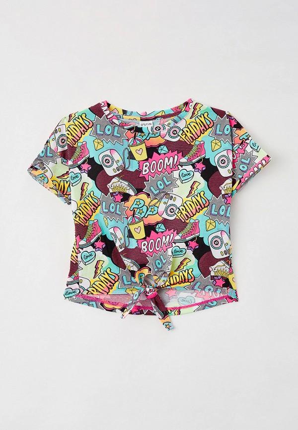 футболка с коротким рукавом o'stin для девочки, разноцветная