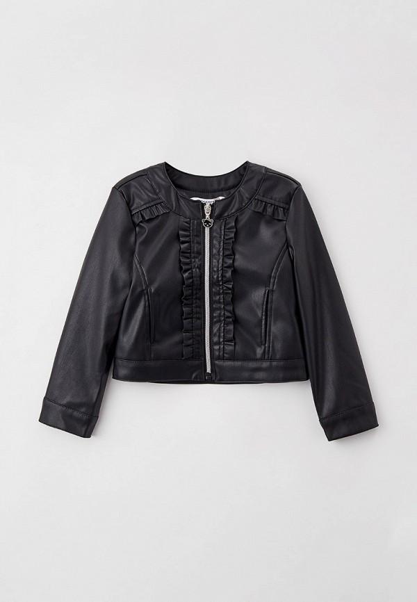 кожаные куртка coccodrillo для девочки, черная