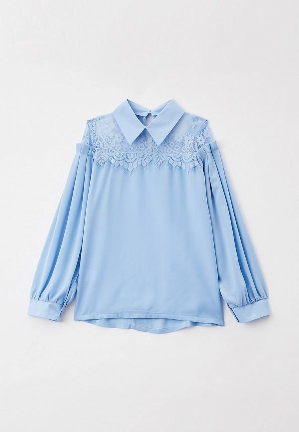 блузка соль&перец для девочки, голубая