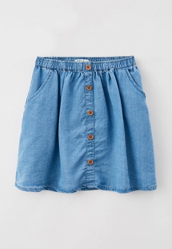 джинсовые юбка sela для девочки, голубая
