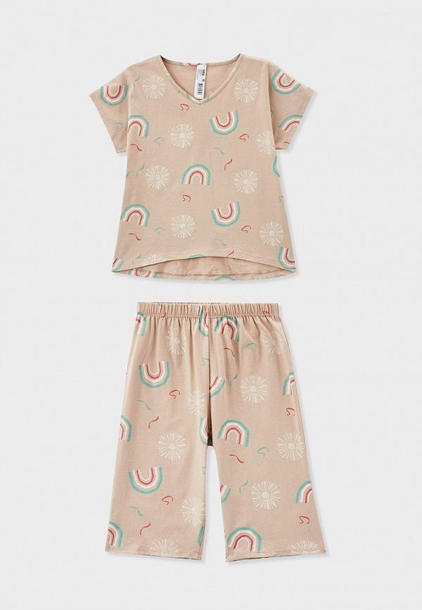 пижама sela для девочки, бежевая