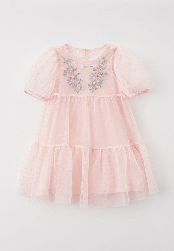 нарядные платье sela для девочки, розовое