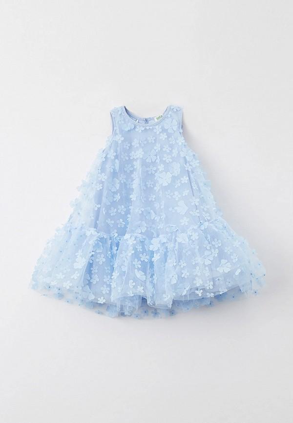 нарядные платье sela для девочки, голубое