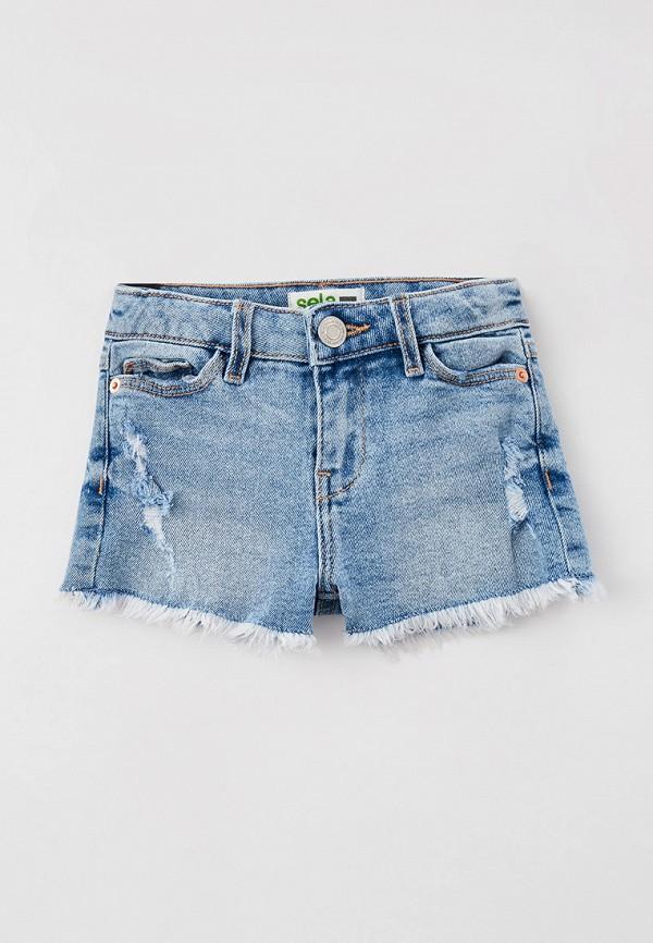 шорты sela для девочки, голубые