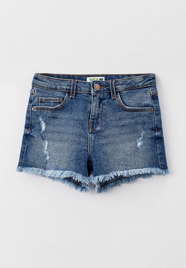 джинсовые шорты sela для девочки, голубые