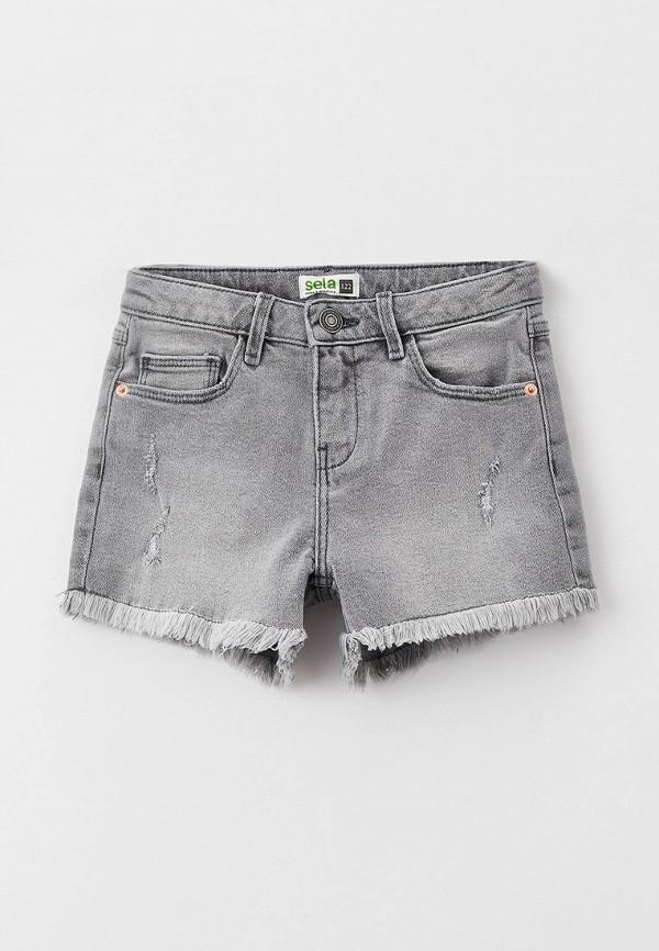 джинсовые шорты sela для девочки, серые
