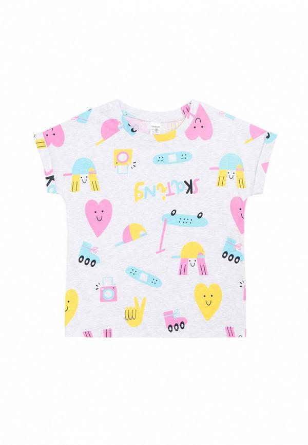 футболка с коротким рукавом crockid для девочки, серая