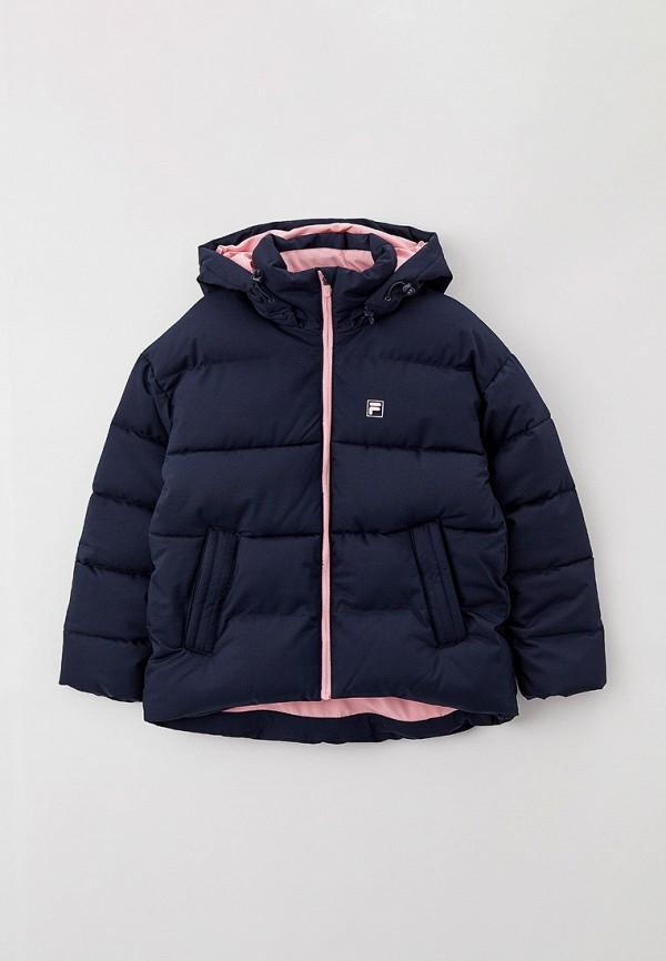 утепленные куртка fila для девочки, синяя