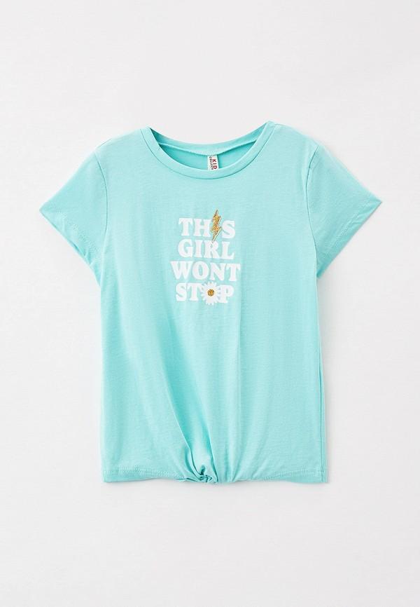 футболка с коротким рукавом defacto для девочки, бирюзовая
