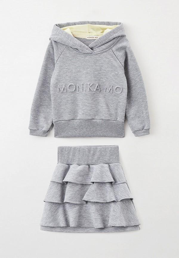 свитшот monikamo для девочки, серый