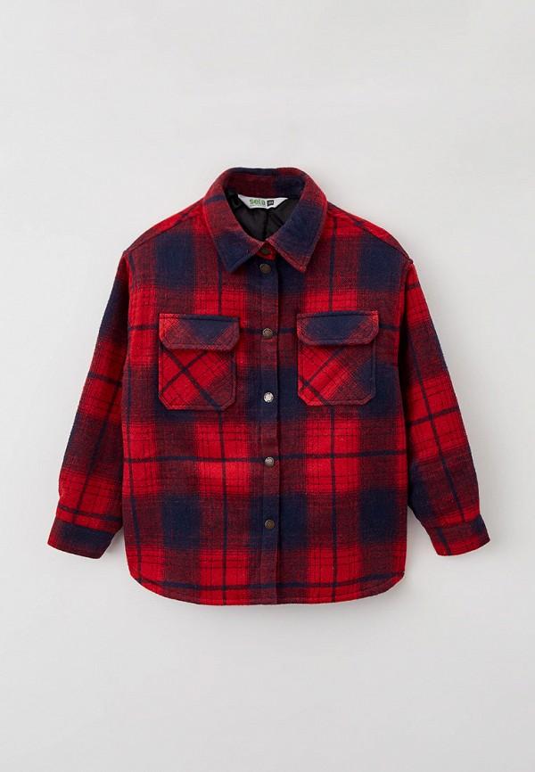 пальто sela для девочки, красное