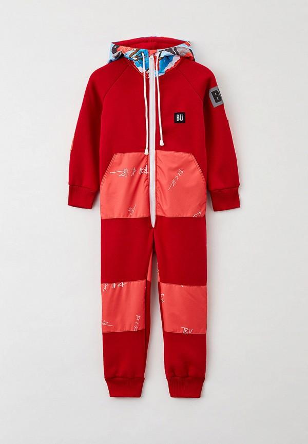 комбинезон с брюками bukidz для девочки, красный